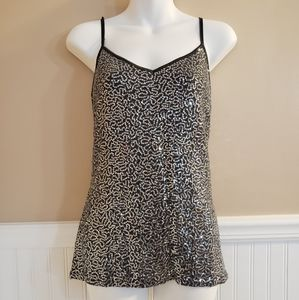 Express Silver Sequin Tank Top w Adjustable Straps